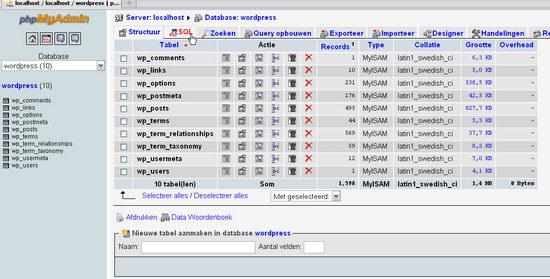 wp-postrevisions selecteer tab sql in database