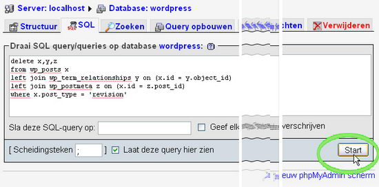 wp-postrevisions draai query in mysql database