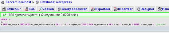 wp-postrevisions rijen in mysql-database verwijderd