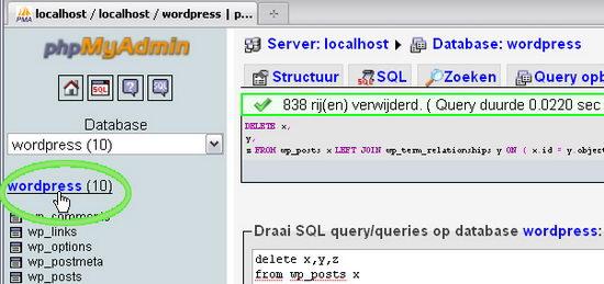 wp-postrevisions selecteer opnieuw de database