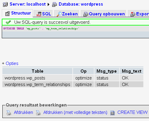 wp-postrevisions sql-querie is goed uitgevoerd