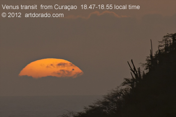 Venus in transit as seen from Curacao, 2012 june 6